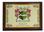 Double Barrelled WEDDING Family Crests Print PERSONALISED,  ref FCWDB